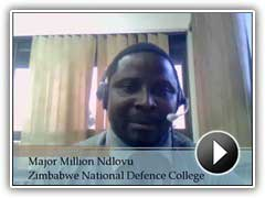 Testimonio de vídeo del Mayor Million Ndlovu, Colegio de Defensa Nacional de Zimbabue.